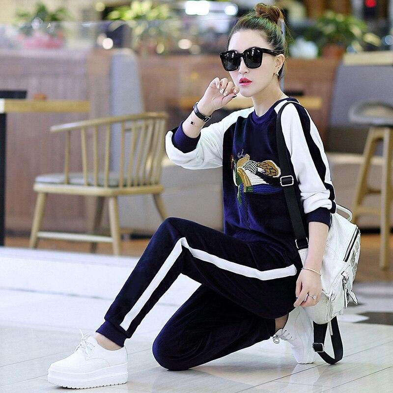 Vêtements Sweat Hoodies 2018 Loisirs Pcs Jardin Femmes blue Pleuche Printemps Pull De Costume 2 Ensemble Nouvelles Costumes Pantalon Brown black Velours Nouveau wzqdx6XI