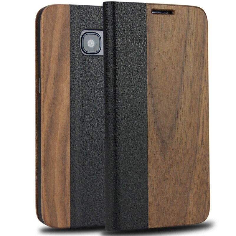 imágenes para Caso Del Tirón magnético Para Samsung Galaxy S7 borde De Madera Natural cubierta De Bambú con Cajas Del Teléfono de Cuero Genuino para la Galaxia S7 borde