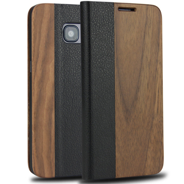 finest selection bcbd7 4d5f3 US $12.14 19% OFF|Magnetic Flip Case For Samsung Galaxy S7 edge Case  Genuine Leather with Natural Wood Bamboo Phone Cover For Galaxy S7 edge-in  Flip ...