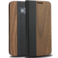 Magnetic Flip Case For Samsung Galaxy S7 Natural Wood Cover Bamboo With Genuine Leather Phone Cases