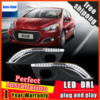 Car styling For Peugeot 308 LED DRL For Peugeot 308 High brightness guide LED DRL led fog lamps daytime running lights