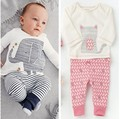 2015 Autumn Cartoon Elephant Cat Baby Clothing Set ( Long Sleeve Tops + Pants ) Baby Boy Girl Clothes