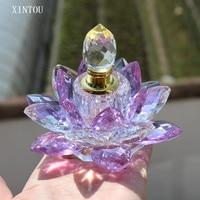 XINTOU Purple Lotus Flower Crystal Prefume Bottle Car Decoration Bottle For Perfume 10ml 15ml Home Decor Spice Water Bottle
