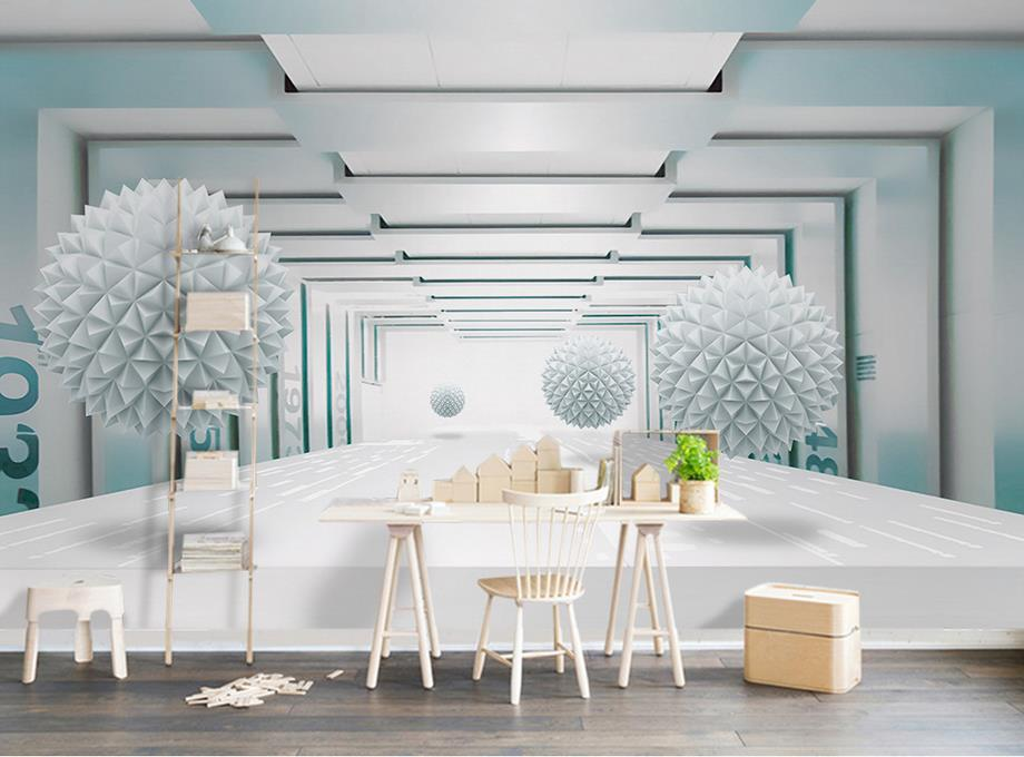 custom 3d stereoscopic wallpaper for walls 3 d Ball abstract architectural space photo mural wallpaper for living room custom baby wallpaper snow white and the seven dwarfs bedroom for the children s room mural backdrop stereoscopic 3d