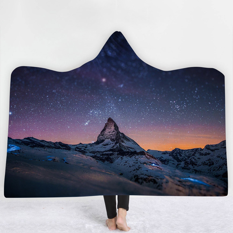 ehomebuy blanket 3d hooded blankets 3d printing mountain starry sky wearable home adults. Black Bedroom Furniture Sets. Home Design Ideas