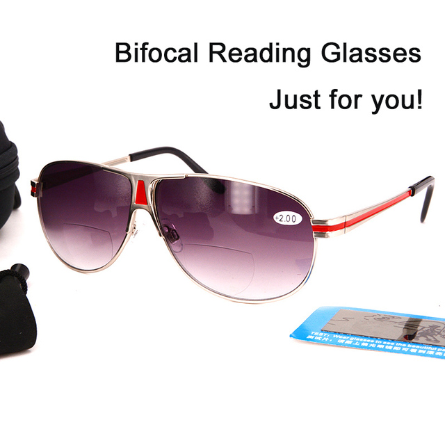 bf64c60767 Wholesale Bifocal Reading glasses cheap Fashion Man s Metal Sunglasses  readers for Women and Men Outdoor fishing with case Black