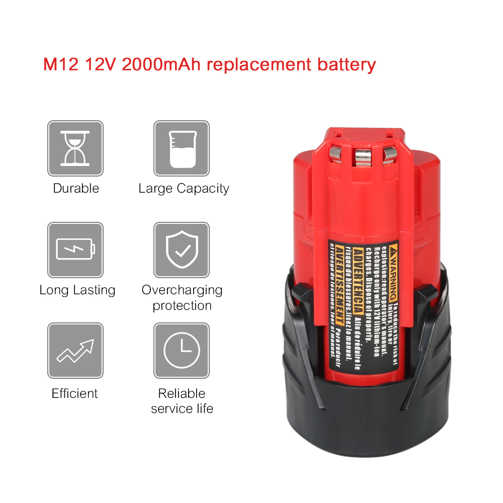 12V 2.0Ah M12 Replacement Lithium-ion Battery Li-ion Battery for Milwaukee power Tools electric screwdriver 48-11-240148-11-2402 4 2v 6a 1s lithium battery protection pcb bms board for 18650 18550 li ion lipo battery cell