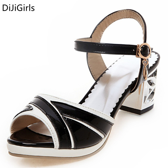 d67a11bf635f7a 2017 New Design OL Sandals Stylish Patch Front Thick Heel Women Sandals New  Style Casual Sandals