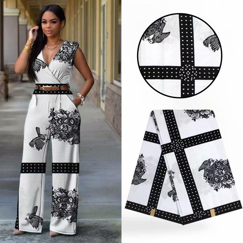 6 Yards/lot offre spéciale blanc et noir imprimé nid d'oiseau batik cire motif africain cire tissu pour vêtements WH10