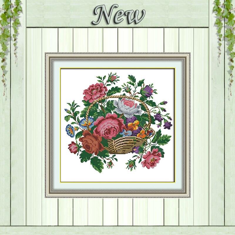 Shop For Cheap Flower Basket Rose Diy Decor Painting Dmc 14ct 11ct Cross Stitch Needlework Set Embroidery Kits Chinese Cross Stitch Home Decor Cross-stitch