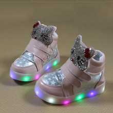2017 boys girls casual shoes with flash LED toddler children's breathable running sport shoes cartoon KT Cat glowing sneakers 84