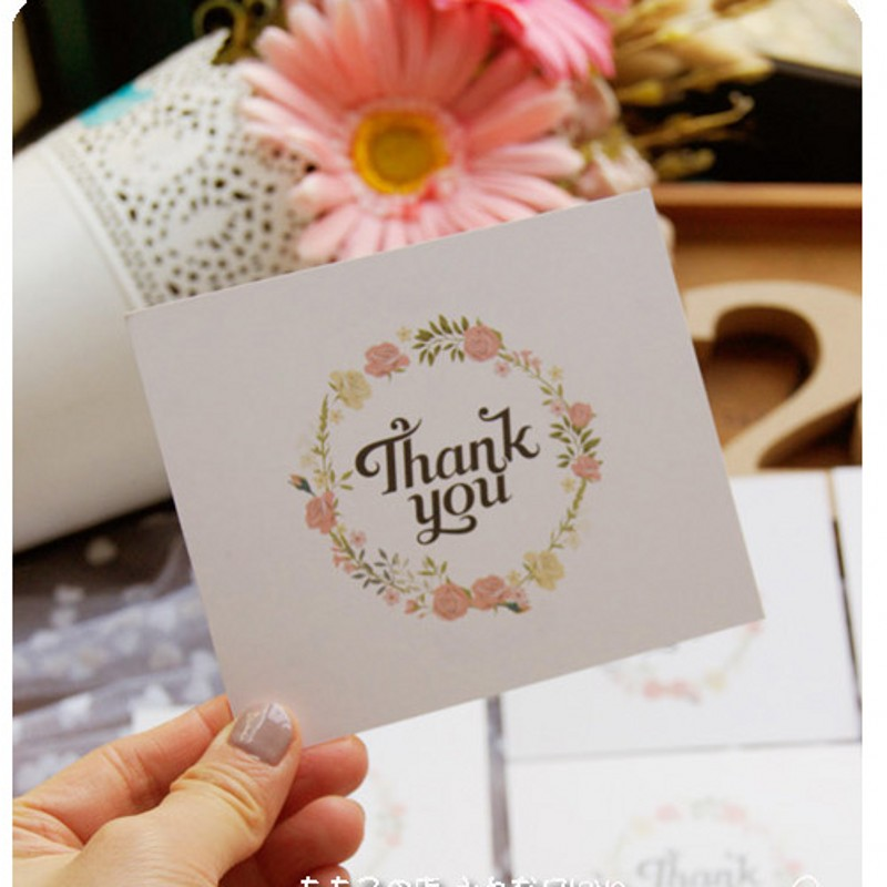 50pcs lot fresh flowers thank you paper card wreath of rose gift
