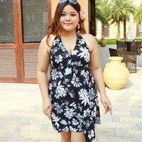 Big Size Cover Ups Swimwear Set Thongs Women One Piece Swimsuits Dress Print Beach Wear Halter