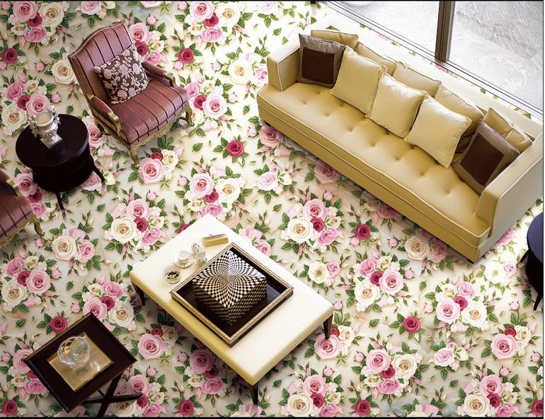ФОТО custom 3d floor murals 3d stereoscopic wallpaper Relief Rose Flower wallpapers for living room pvc vinyl flooring