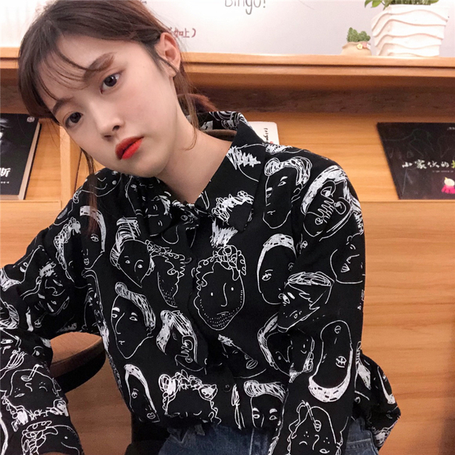 2018 Korean Street Fashion Women Shirts Japanese Harajuku Vintage Cartoon Print Leisure Blouses Funny Graphic Loose Female Tops 4