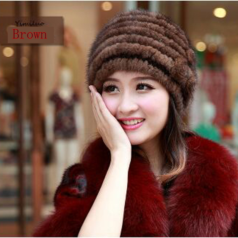 Import mink fur hat ladies knit warm autumn and winter high end leather ladies fur hat
