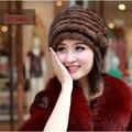 Importação de pele de vison chapéu das senhoras quentes malha outono e inverno chapéu de pele senhoras de couro high-end