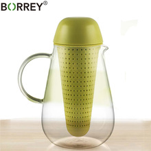 BORREY 350Ml Clear Glass font b Tea b font Pot Heat Resistant Glass font b Tea