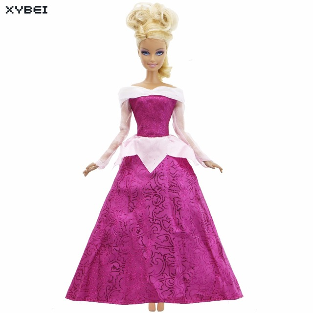 Fairy Tale Princess Dress Evening Party Wedding Gown Copy Sleeping Beauty Aurora Clothes For Barbie