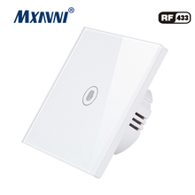 MXAVNI EU/UK Touch Switch LED Wall Light Switch 110-240V 1 Gang 1 Way Waterproof Crystal Tempered Glass Panels