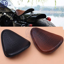 Motorcycle Retro Brown/Black Crocodile Leather Solo Seat for Harley Custom Chopper Bobber Saddle