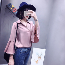New Women Shirts Flare Sleeve Solid Korea Pearl Satin Fabric Collar Blouse Shirt White Pink Green D8841