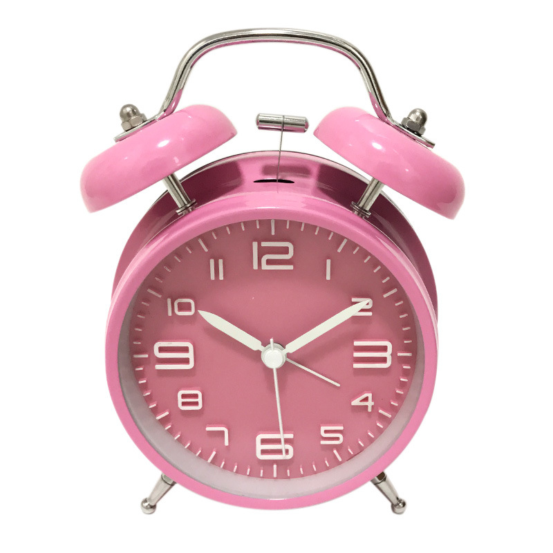 2018 New Fashion Clock Twin Bell Silent Alloy Stainless Metal Alarm Clock Super Loud Alarm Sound For Heavy Sleepers Desk Clock