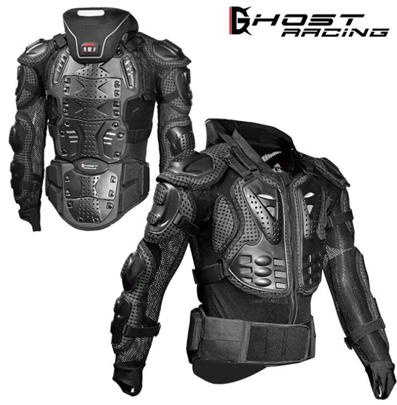GHOST RACING Motorcycle Jackets Motorcycle Armor Racing Body Protector Jacket Motocross Motorbike Protective Gear + Neck Protect недорго, оригинальная цена