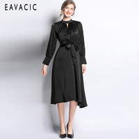 EAVACIC 2019 woman clothes solid colour long sleeve elegant dress satins with sashes office lady
