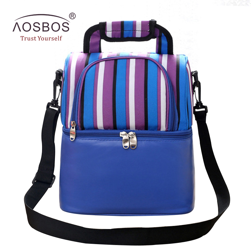 Aosbos Striped Lunch Bags for Women Multifunctional Insulated Thermal Picnic Cooler Bag Women Storage Tote Portable Lunch Bag