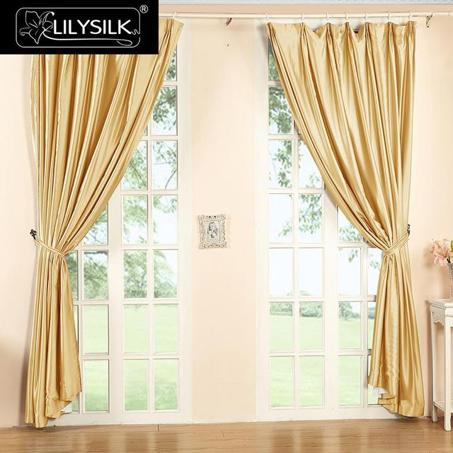 LILYSILK Silk Curtain 19 Momme New Classical Living Room Drapes Rod Pocket  Header Free Shipping