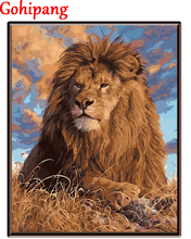 By Numbers animal Frameless Oil Painting Abstract DIY Painting Home Wall Decor Kits Coloring On Canvas Prairie Lion King
