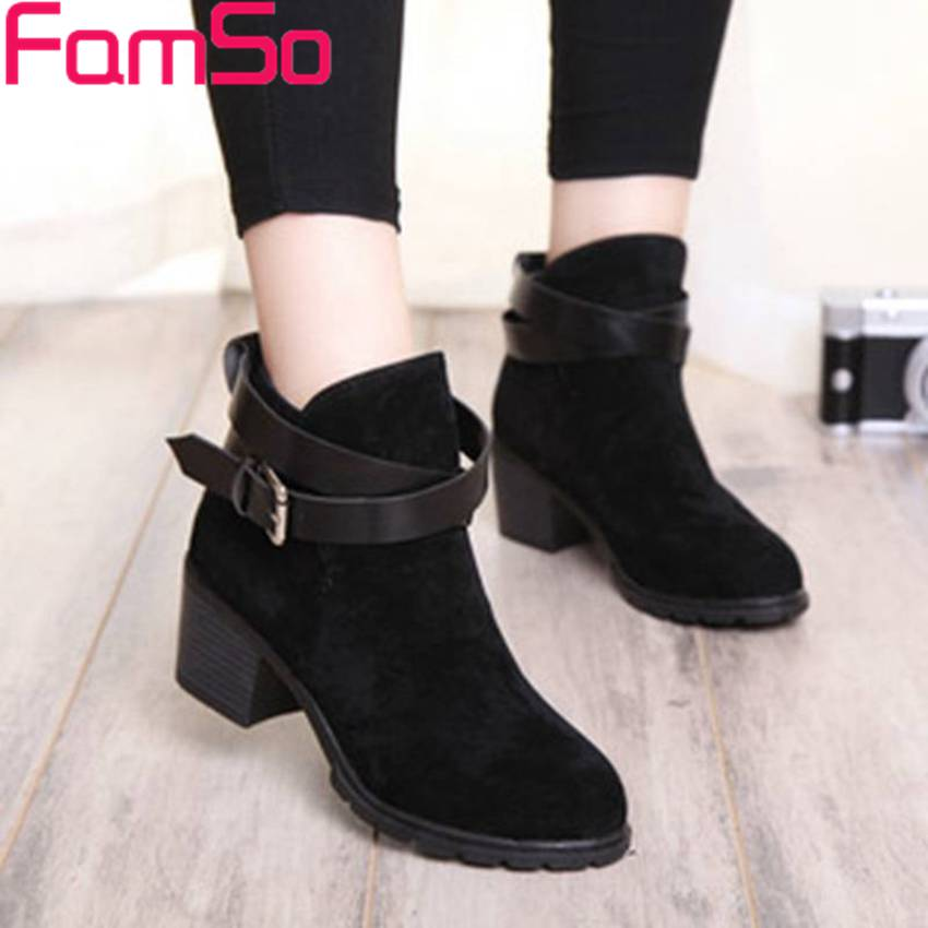 Free shipping 2016 new Sexy font b Women b font Spring Autumn Ankle Boots Buckle Round