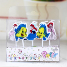 5pcs/set Creative Cartoon The Little Mermaid Cake Candle Birthday Party Decoration Evening