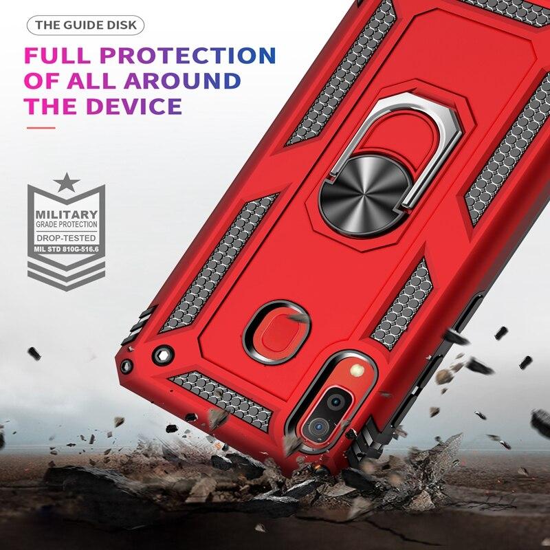 Armor Case For Samsung Galaxy A20E J2 A2 Core A10E A10 A20 A30 A40 A50 A60 A70 M10 M20 M30 M40 Shockproof Finger Ring Car Cover