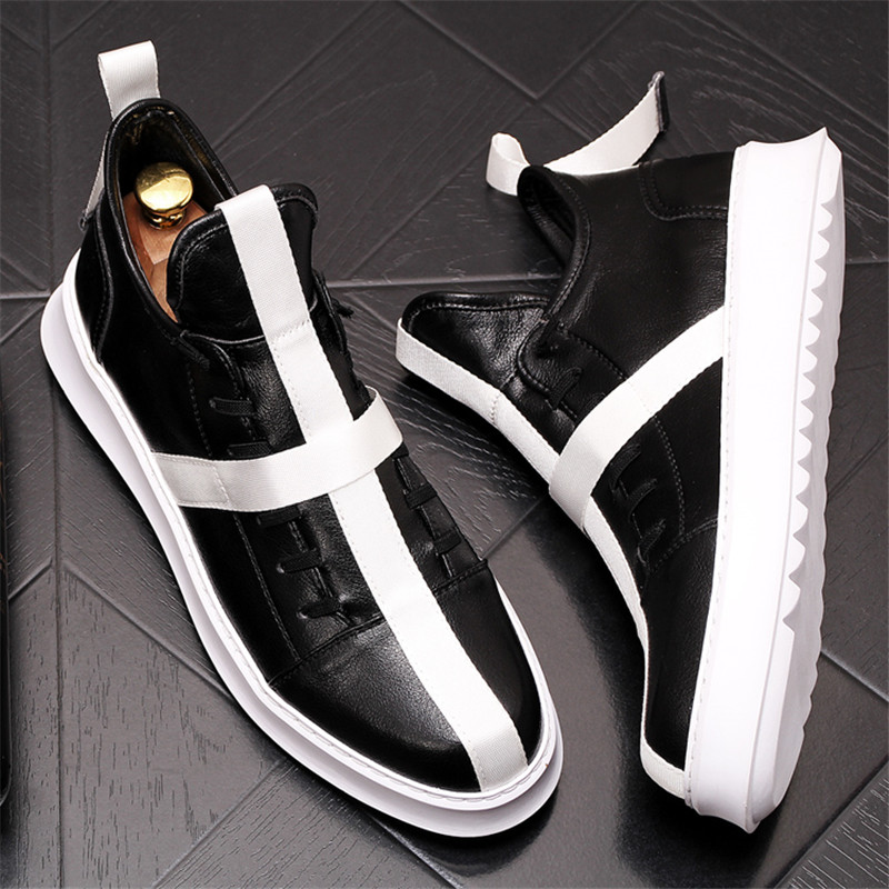 2019 Men Fashion Casual Ankle Boots Spring Autumn Leather Slip On Riding Boots High Top Hip Hop Shoes 6#20D502019 Men Fashion Casual Ankle Boots Spring Autumn Leather Slip On Riding Boots High Top Hip Hop Shoes 6#20D50
