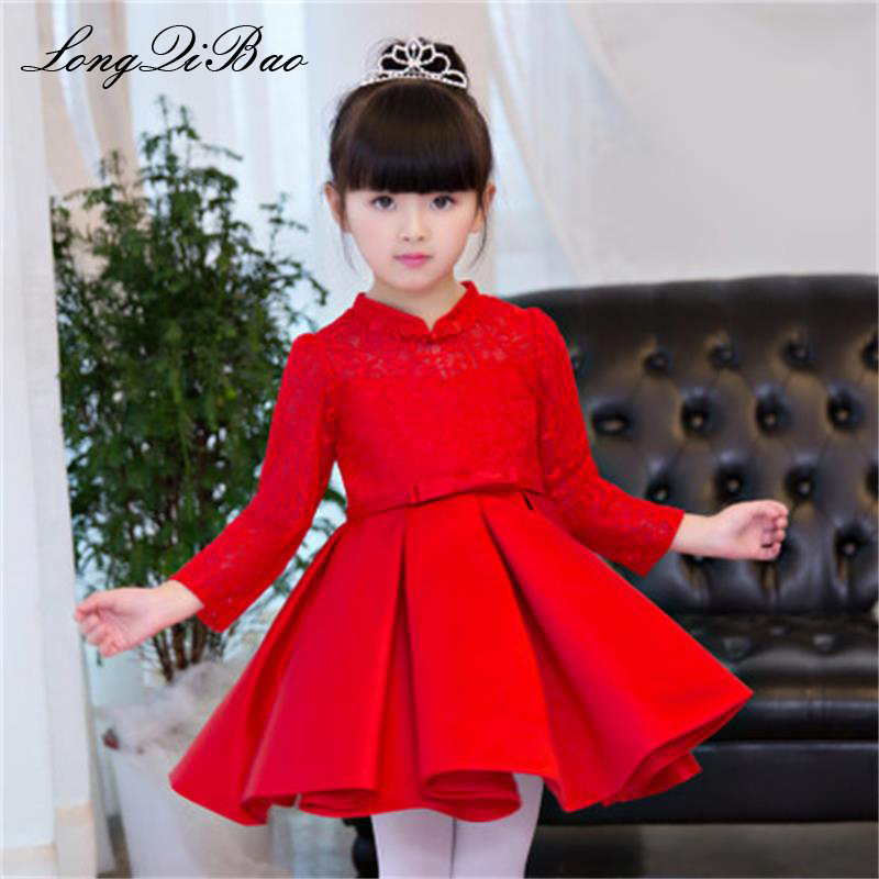 Baby girl red long-sleeved children's dress birthday princess dress flower girl dress girl host piano costumes pettiskirt autumn baby girl red children s dress princess dress long sleeve birthday flower girl dress girl piano host costume long winter