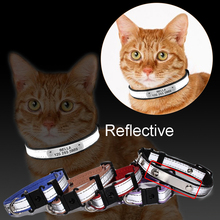 3 in1 Gravert katt krage Reflekterende kattunge ID Tag Telefonnummer Navneplattform Puppy Collar Charms Små Dog Leather Chain Pet ID Tag