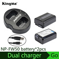 KingMa Double (Dual) Charger + (2-Pack) For Sony NP-FW50 Battery Alpha 7 a7 7R a7R 7S a7S a3000 a5000 a6000 NEX-3 NEX-3N NEX-5