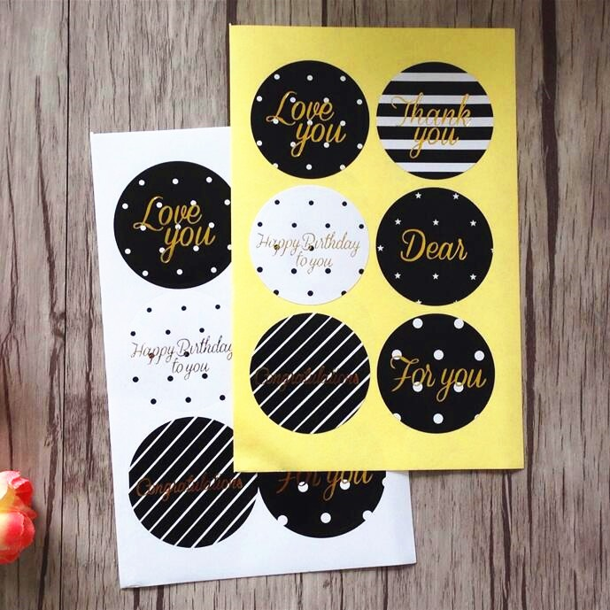 60pcs/lot Simple Classic Blessing Words Gilding Style Adhesive Baking Seal Sticker For Party Favor Gift Bag Candy Box Decor