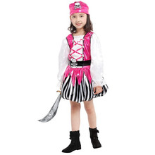 7 Sets lot Free Shipping Kids Pirate Costumes Children Carnival Halloween Masquerade Party Fancy Dress Girls