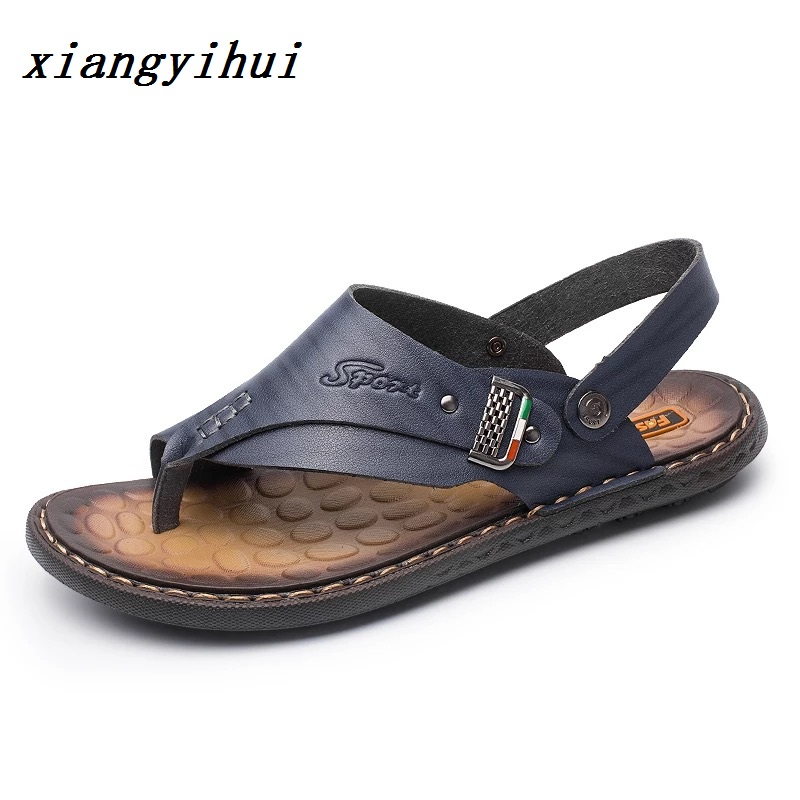 2018 Fashion Genuine Leather Men Shoes Fashion Flat Sandles Summer Men Shoes Beach Male Sandals Leather Sandals For Men
