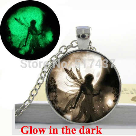 Glow In The Dark Fairy  Moonlight , Fairy Dust Pendant Necklace Girl Fairy Necklace,Art photo glass glowing necklace jewelry
