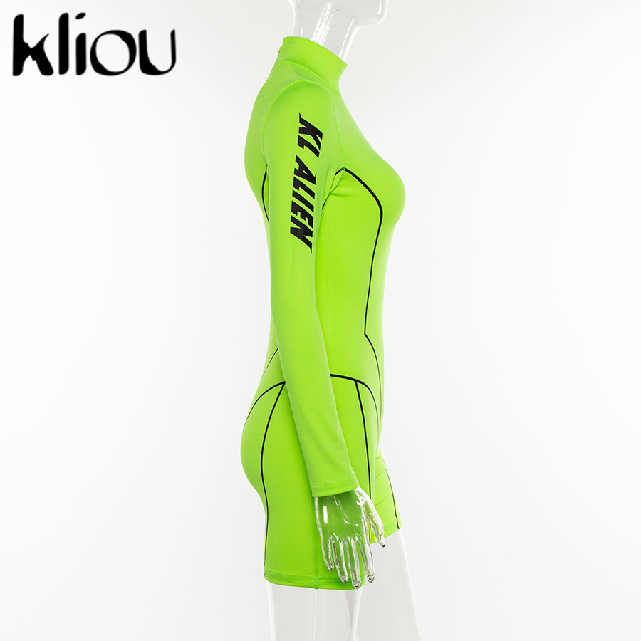 Kliou 2019 new women turtleneck full sleeve fitness playsuit white striped patchwork letter print push up skinny casual bodysuit 115
