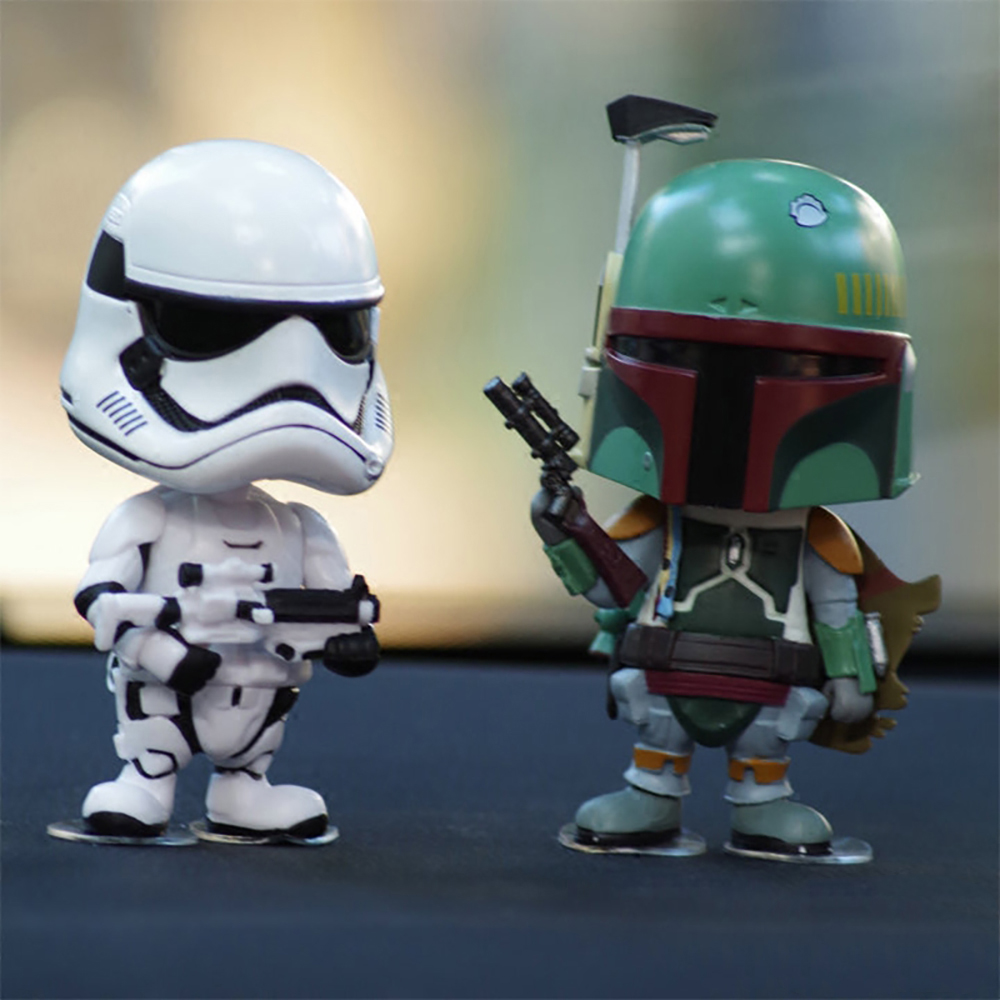Car Ornament Cute Decoration Shaking Head Doll For Star Wars Stormtrooper Boba Fett Action Figure Auto Interior Bobblehead Toys car ornament cartoon doll adornment cute expression car decoration dashboard auto interior decor car accessories for gifts 7cm