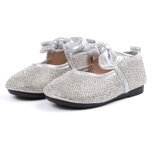 2018Autumn Little baby girl Casual shoes Childrens bows Rhinestone Girl Princess dancing Children soft-soled Shoes