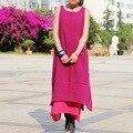 6 Colores Clear Stock Vestido Étnico de Las Mujeres de Moda Sólido de La Vendimia de Lino de Doble Capa Vestido Del Todo-Fósforo