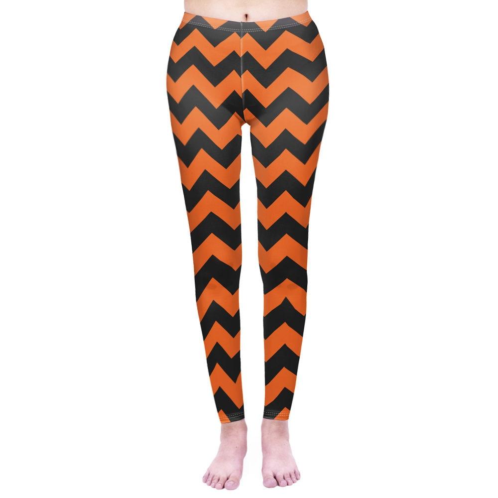 Fashion Women Legging Zigzag Halloween Printing Leggins High Waist Punk Leggings Workou Legins Slim Fitness Pants