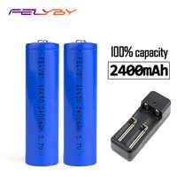 FELYBY alta calidad 2 unids/lote Original 18650 batería de 2400mAh batería de Li-ion de 3,7 V 18650 batería recargable de litio envío gratis