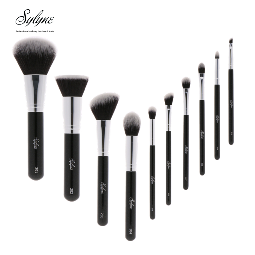 High quality 10pcs professional makeup brush set classic black handle soft hair make up brushes kit tools. makeup brushes